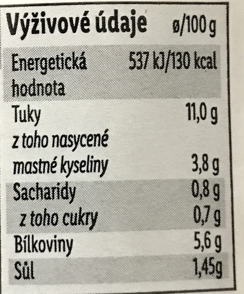 Mousse aux cèpes - Výživové údaje - cs