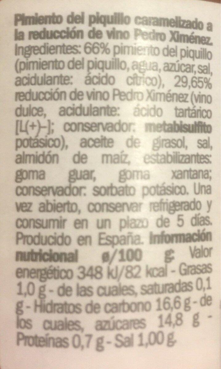 Pimiento piquillo caramelizado - Informations nutritionnelles - es