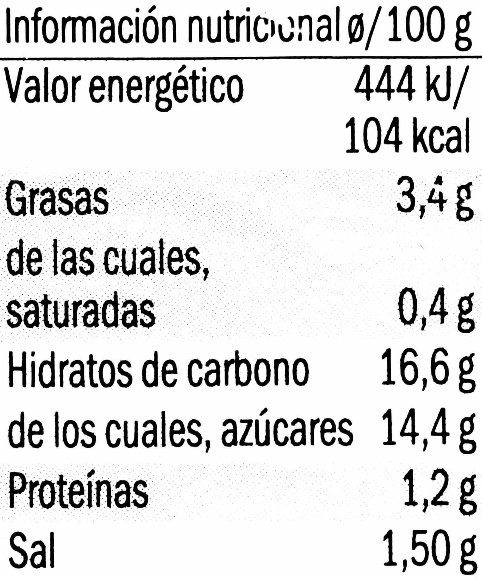 Boletus caramelizado - Informació nutricional