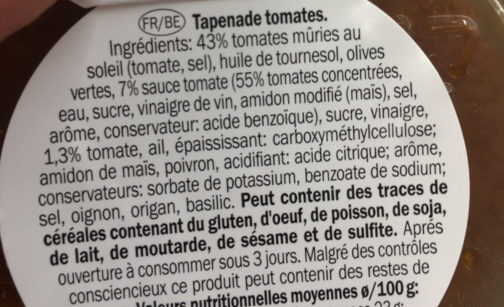 Tomatentapenade Bakje 150 Gram (baresa) Koeling - Ingrédients