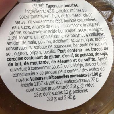 Tomatentapenade Bakje 150 Gram (baresa) Koeling - Informations nutritionnelles