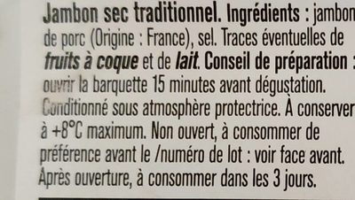 Quart de jambon sec traditionnel - Ingredientes - fr