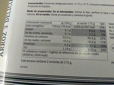 Arroz 3 delicias - Información nutricional