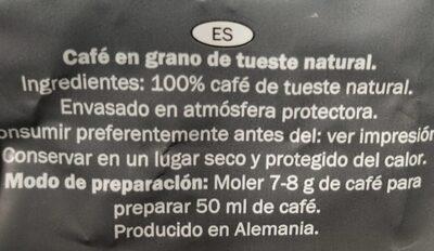 Espresso/Grains de café - Información nutricional