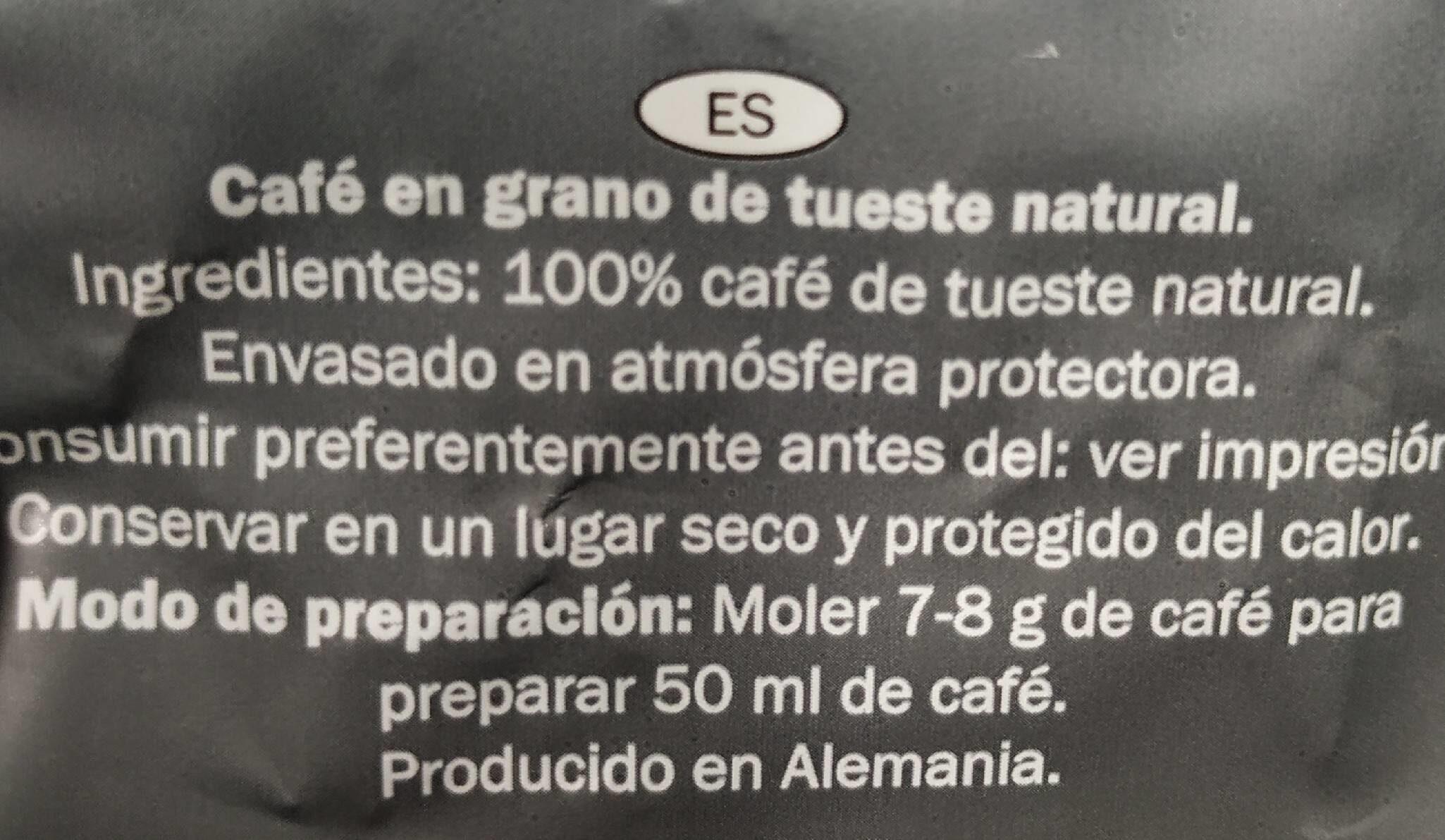 Espresso/Grains de café - Informations nutritionnelles