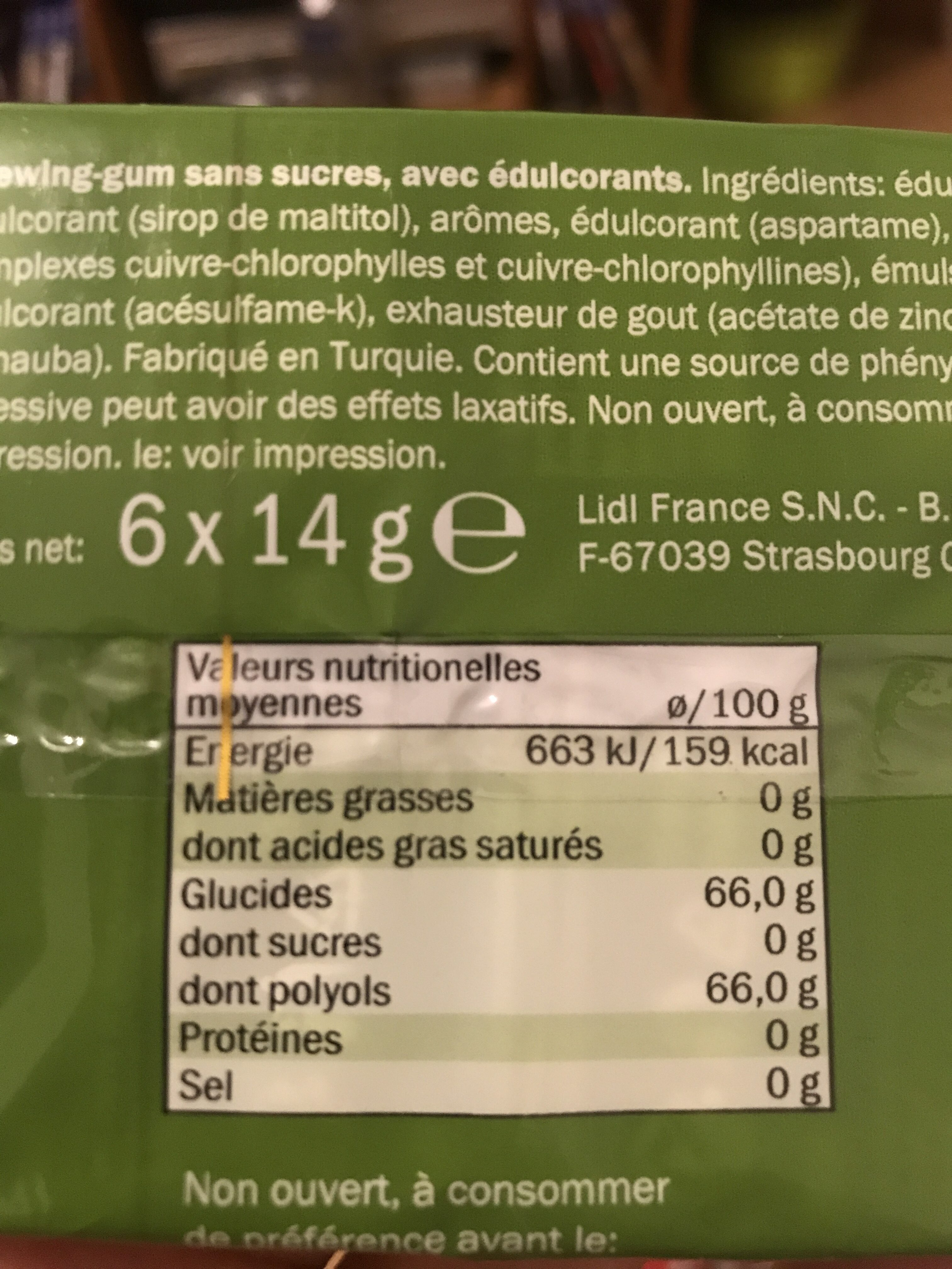 Jet gum chlorophyle - Informations nutritionnelles - fr