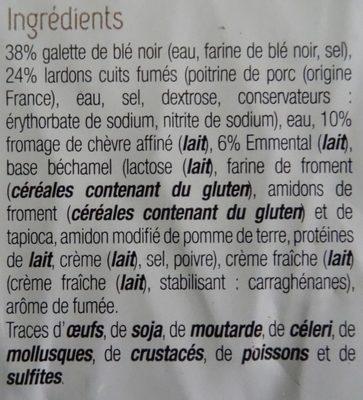 Toque du chef - Galette de blé noir, lardons, chèvre et emmental - Ingredients