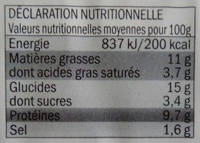 Toque du chef - Galette de blé noir, lardons, chèvre et emmental - Informations nutritionnelles
