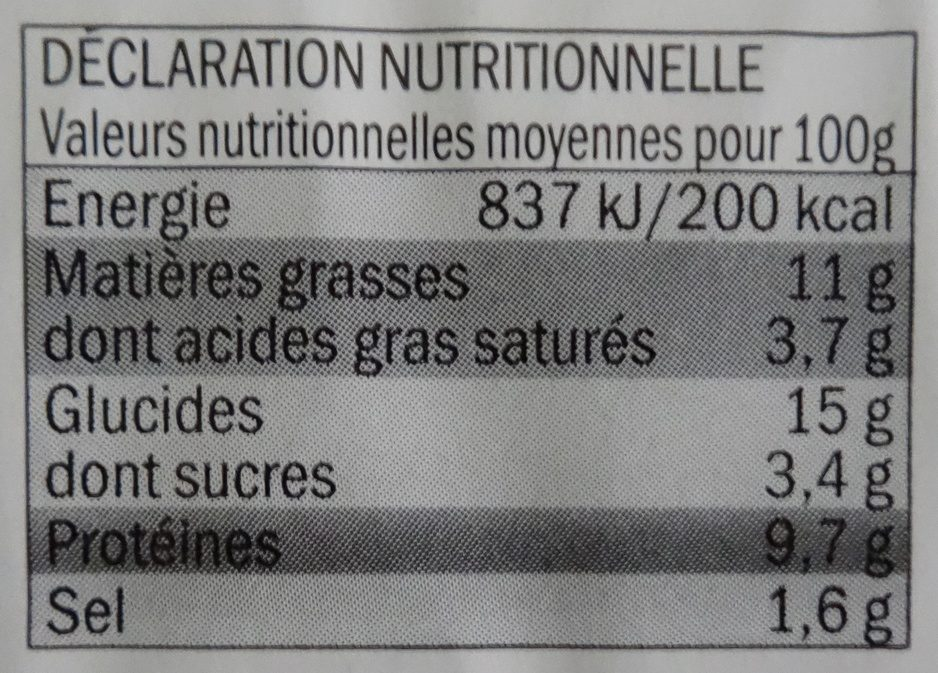 Toque du chef - Galette de blé noir, lardons, chèvre et emmental - Nutrition facts