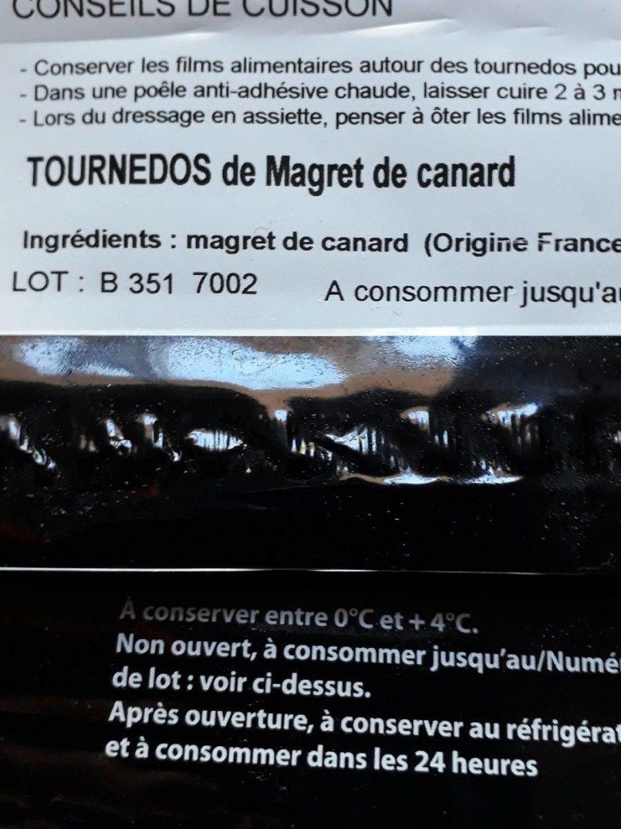 TOURNEDOS de magret de canard - Ingrediënten