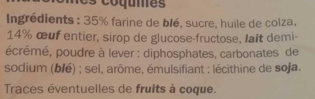 Madeleines - Ingrédients - fr