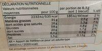 Palmiers biscuits feuilletés - Nutrition facts - fr