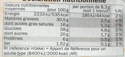 Palmiers feuilletés croustillants - Informations nutritionnelles