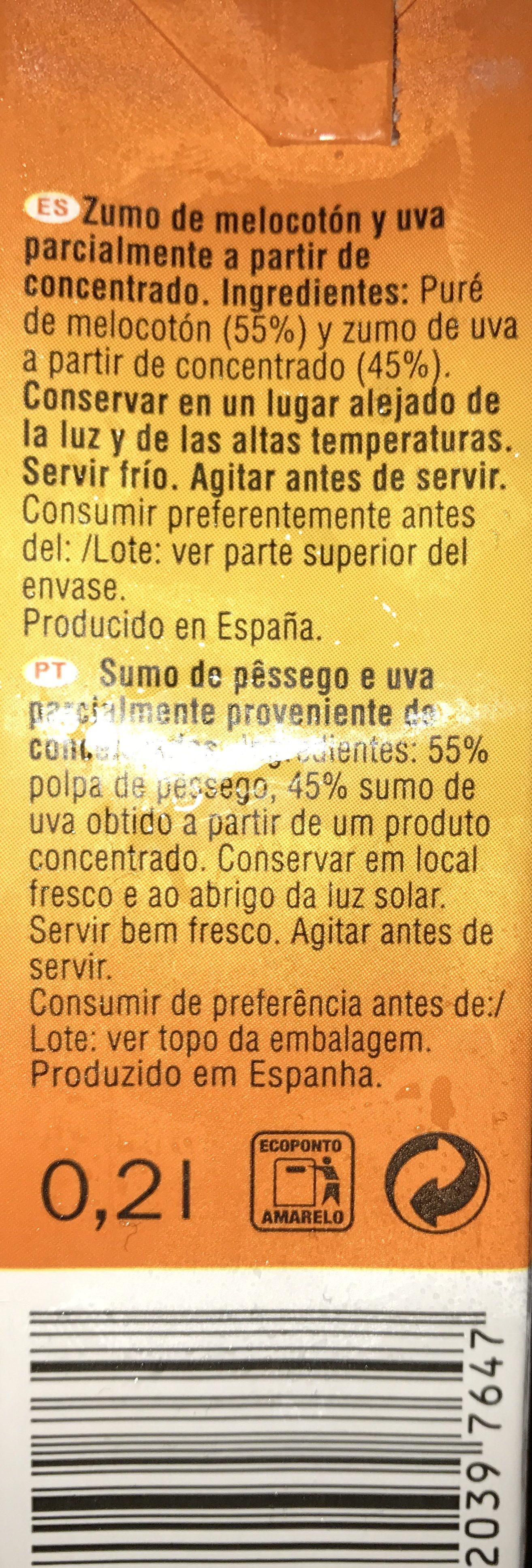 Zumo Melocotón y Uva - Ingredientes - fr