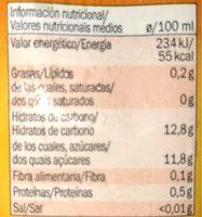 Solevita Melocotón y uva - Información nutricional