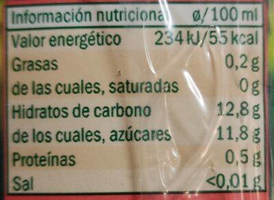 Zumo Melocotón y Uva - Información nutricional - fr