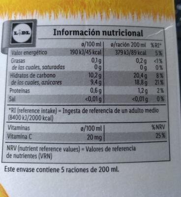 Zumo de naranja exprimida con pulpa - Información nutricional - es