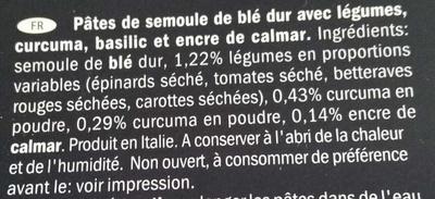 Arcobaleno - Pâtes de semoule de blé dur avec légumes, curcuma, basilic et encre de calmar - Ingredients - fr