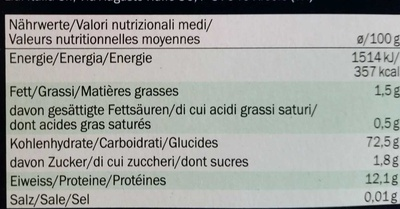 Arcobaleno - Pâtes de semoule de blé dur avec légumes, curcuma, basilic et encre de calmar - Nutrition facts - fr