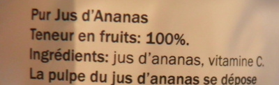 Pur jus d'ananas - Ingrédients - fr