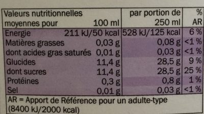 Pur jus d'ananas - Informations nutritionnelles - fr