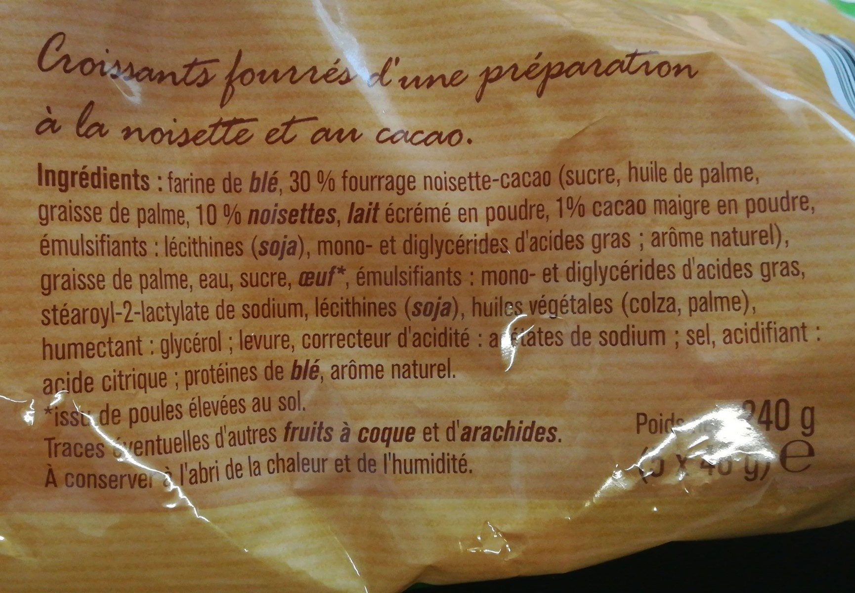5 Croissants Choco-Noisette - Ingredients - fr