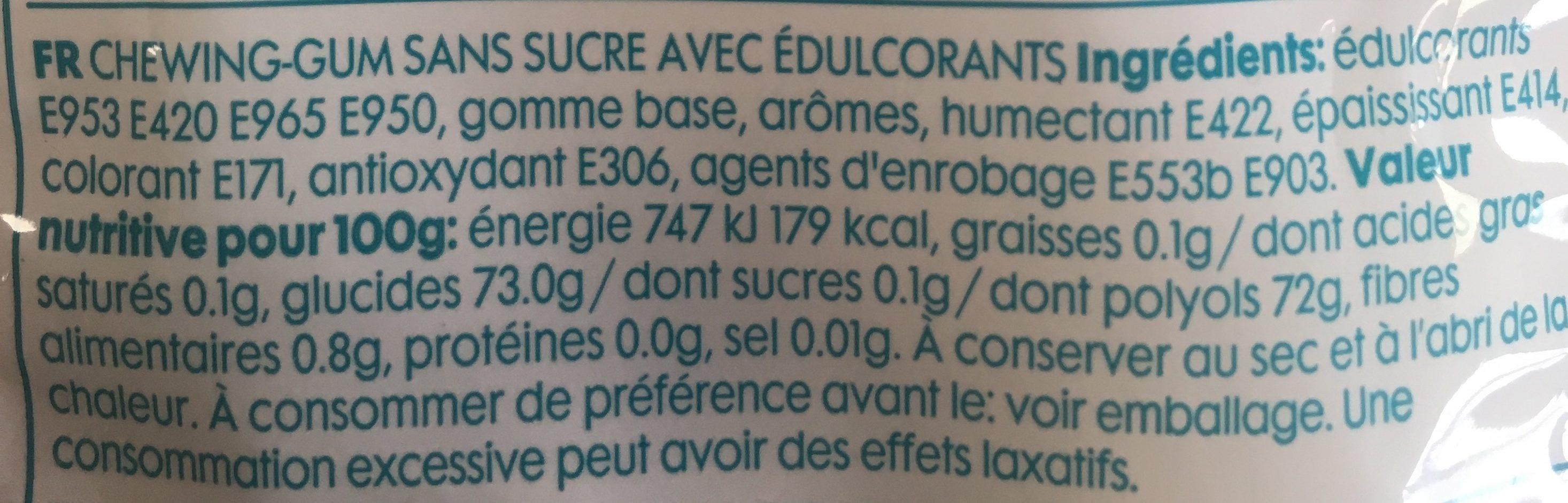 Gum Menthol Mint - Ingrédients