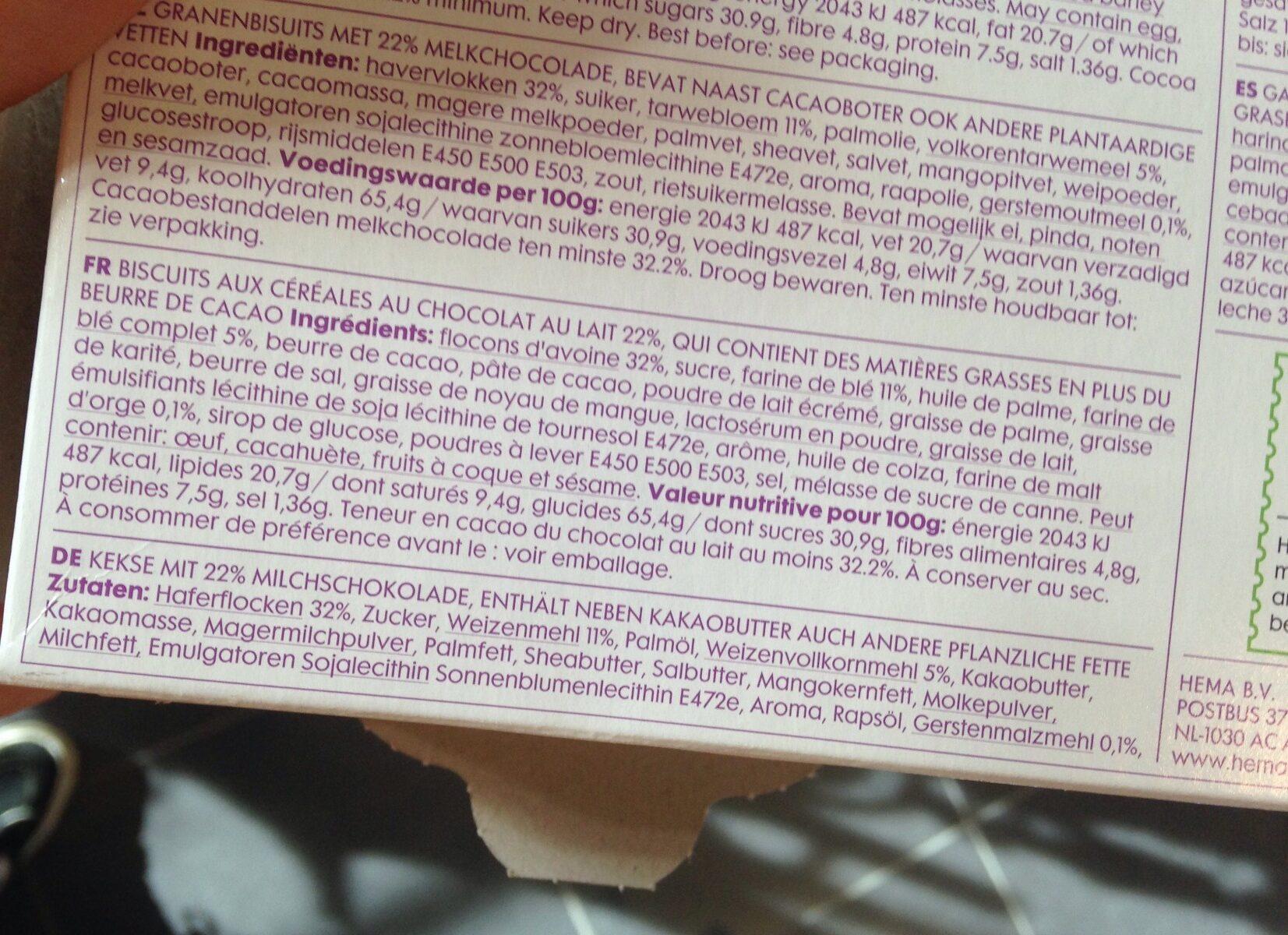 Biscuits aux céréales au chocolat au lait - Ingredients - nl
