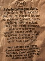 Pain de Campagne Blanc - Ingredients - fr