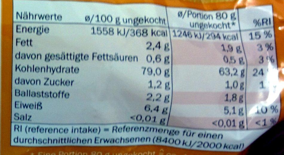 Penne glutenfrei - Informations nutritionnelles
