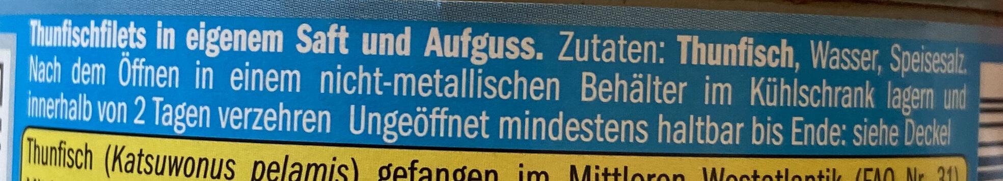 Thunfisch - Ingredientes - de