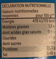 Thon Entier au naturel - Nutrition facts - de