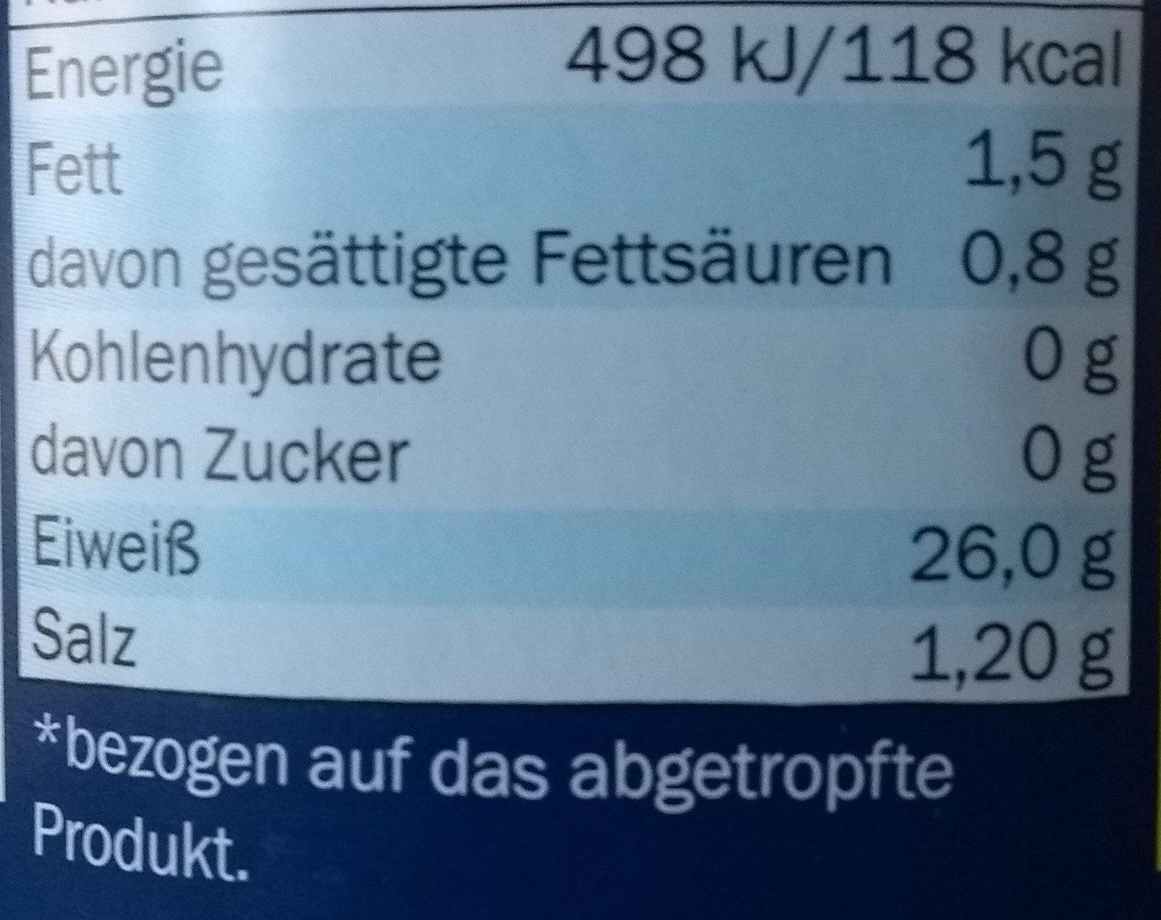 Thunfisch - Voedingswaarden - de