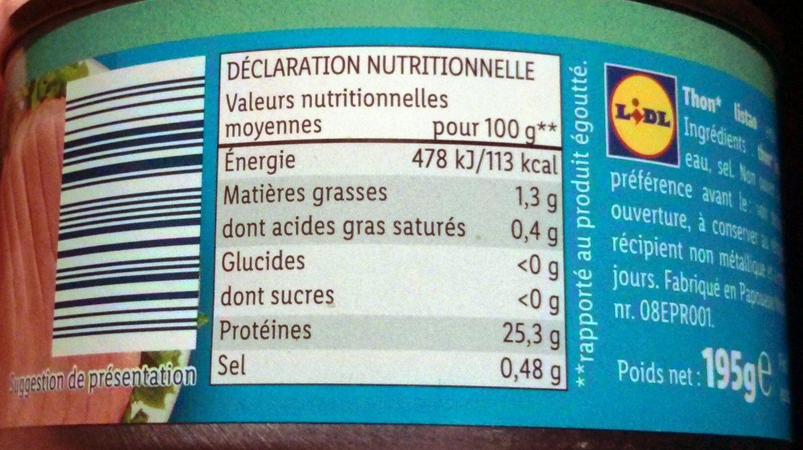 Thunfisch - Informations nutritionnelles - fr