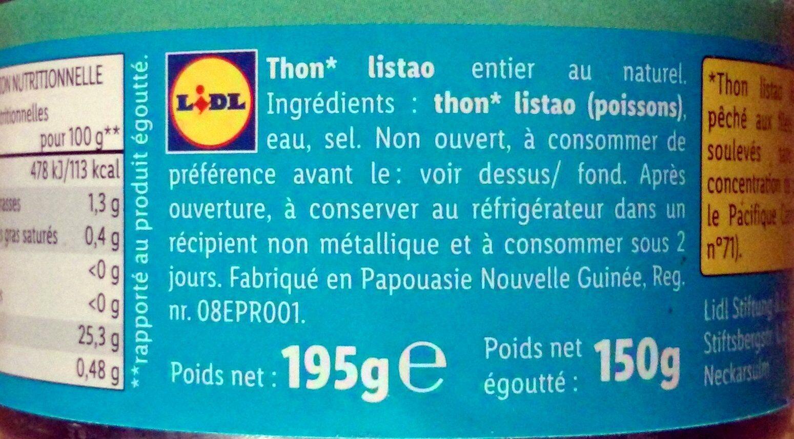 Thunfisch - Instruction de recyclage et/ou informations d'emballage - fr