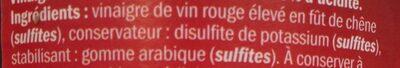 Vinaigre de Vin - Ingrédients - fr