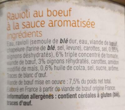 Raviolis pur bœuf - Ingrédients - fr