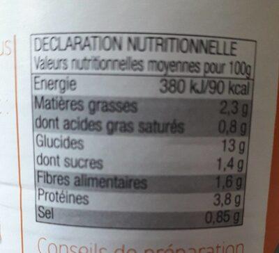 Raviolis pur bœuf - Informations nutritionnelles - fr