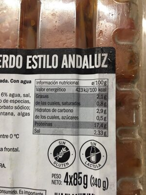 Pinchos estilo andaluz - Voedigswaarden