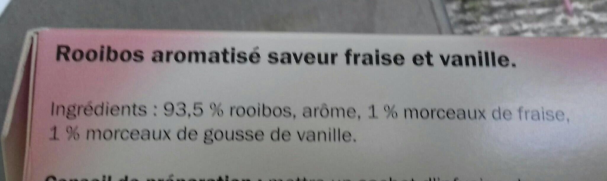 Rooibos aromatisé  saveur fraise vanille - Ingrediënten