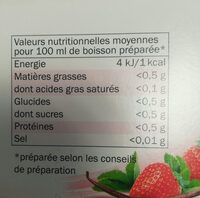 Rooibos aromatisé  saveur fraise vanille - Voedigswaarden