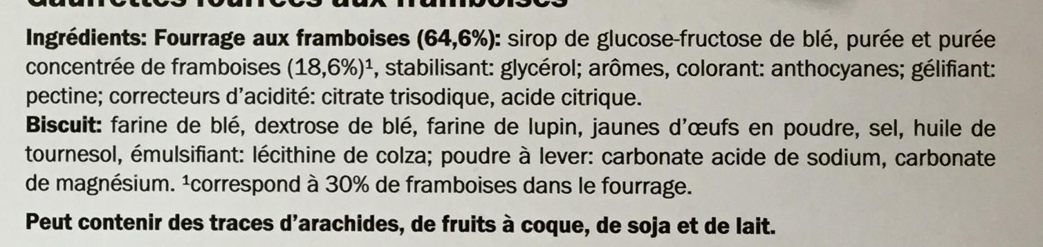 Gaufrettes aux framboises ou chocolat - Ingrediënten - fr