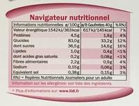 Gaufrettes aux framboises - Informations nutritionnelles - fr