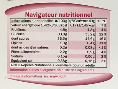Gaufrettes aux framboises ou chocolat - Voedingswaarden - fr