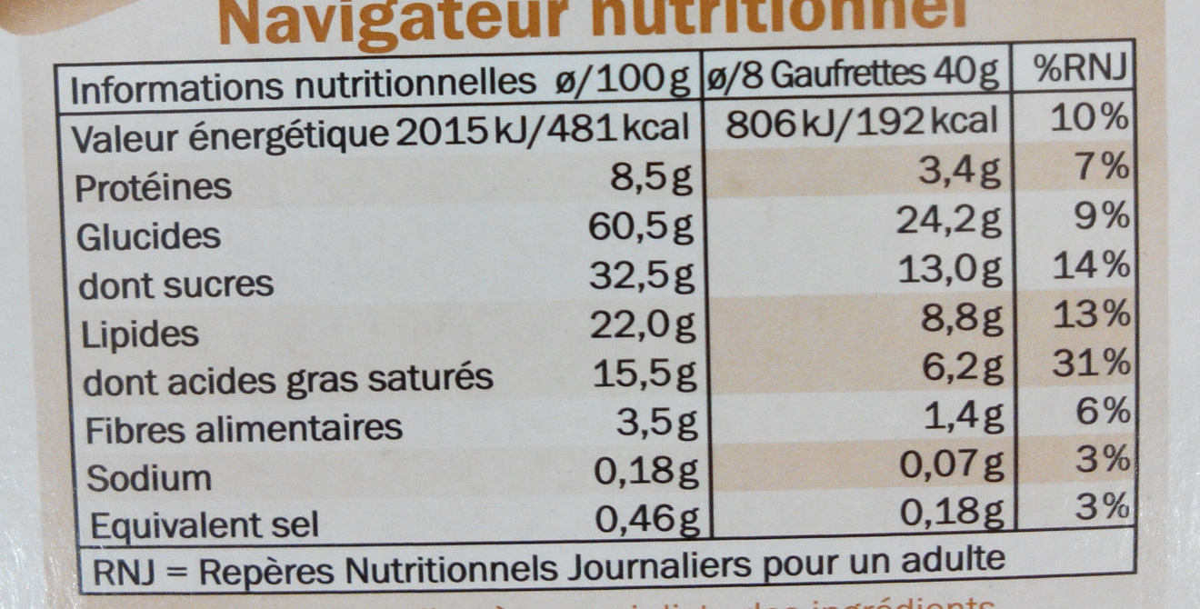 Gaufrettes au chocolat et aux noisettes - Informations nutritionnelles - fr