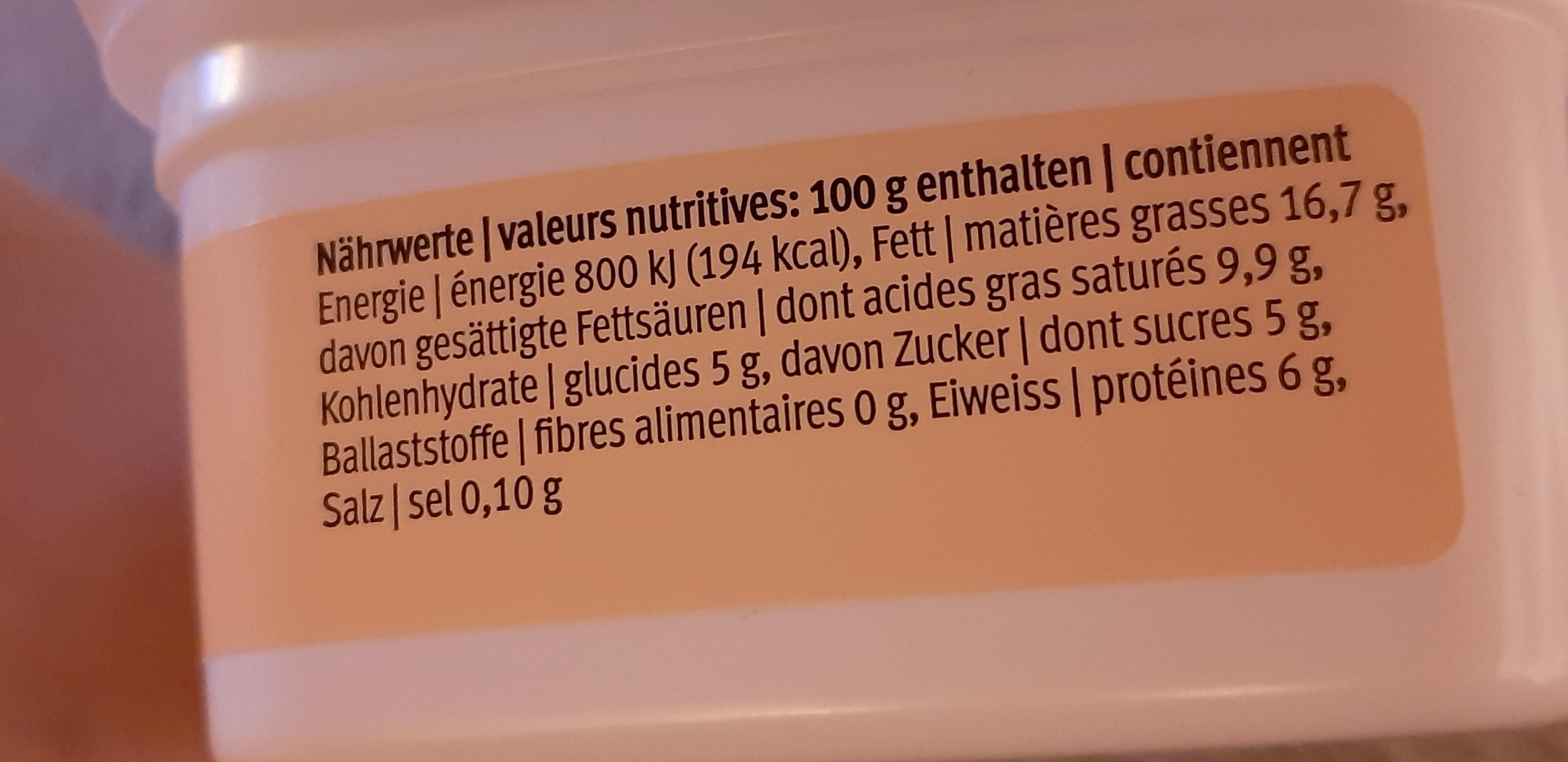 Rahmquark - Nutrition facts