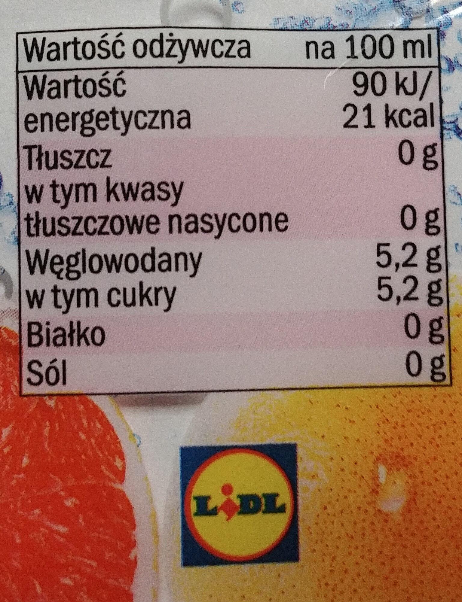 Napój gazowany o smaku grejpfrutowym. - Nutrition facts - pl