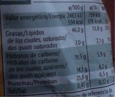 Cacahuete frito con miel - Informations nutritionnelles - fr