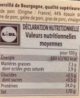 Véritable jambon persillé de Bourgogne - Voedingswaarden - fr