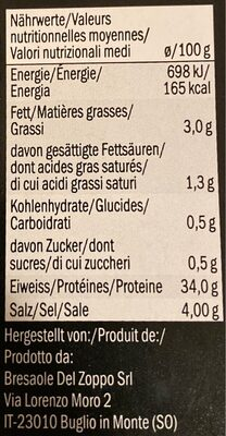 Brasaola - Informazioni nutrizionali - de